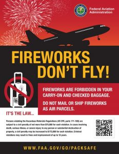 Fireworks Dont Fly! Fireworks are Forbidden in Carry On and Checked Baggage. Do Not Mail or Ship Fireworks. FAA Regulations. Your Friends at Fireworks Wholesale Store in Warrenton, Missouri